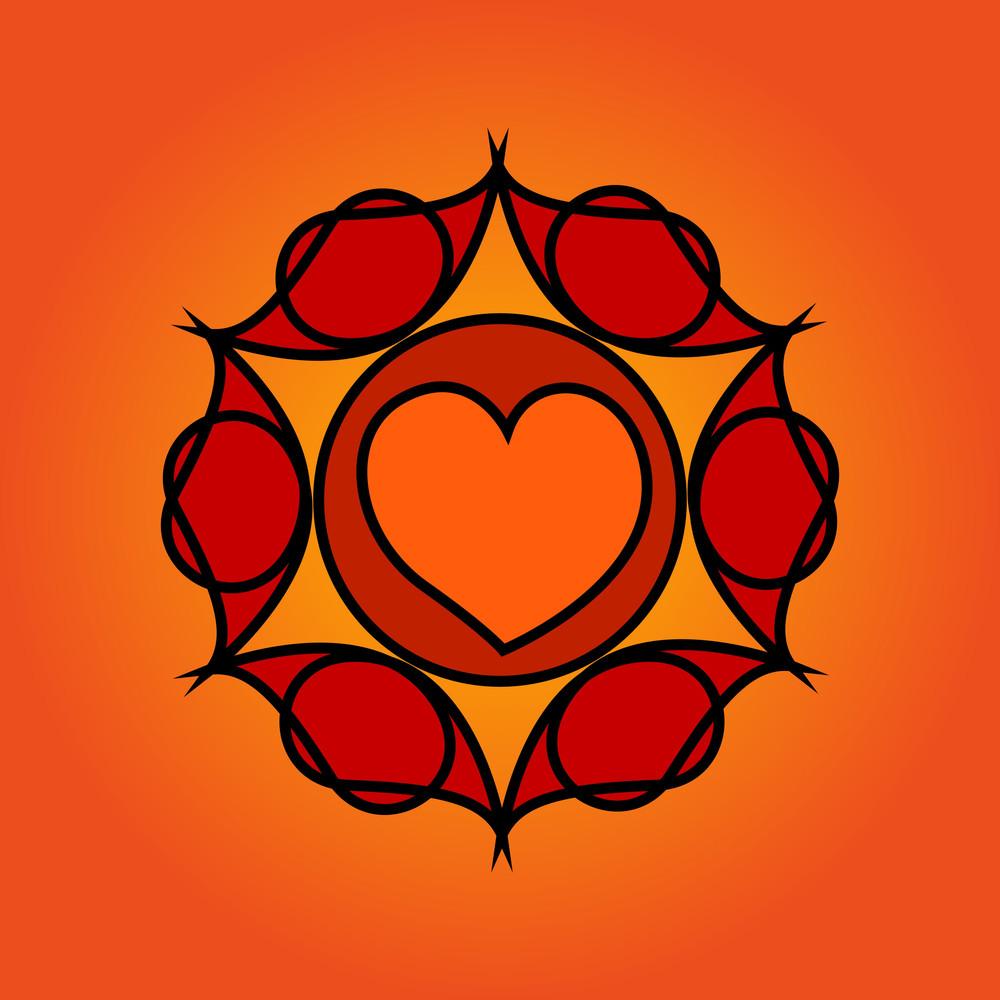 Heart Design Decorative Floral Element