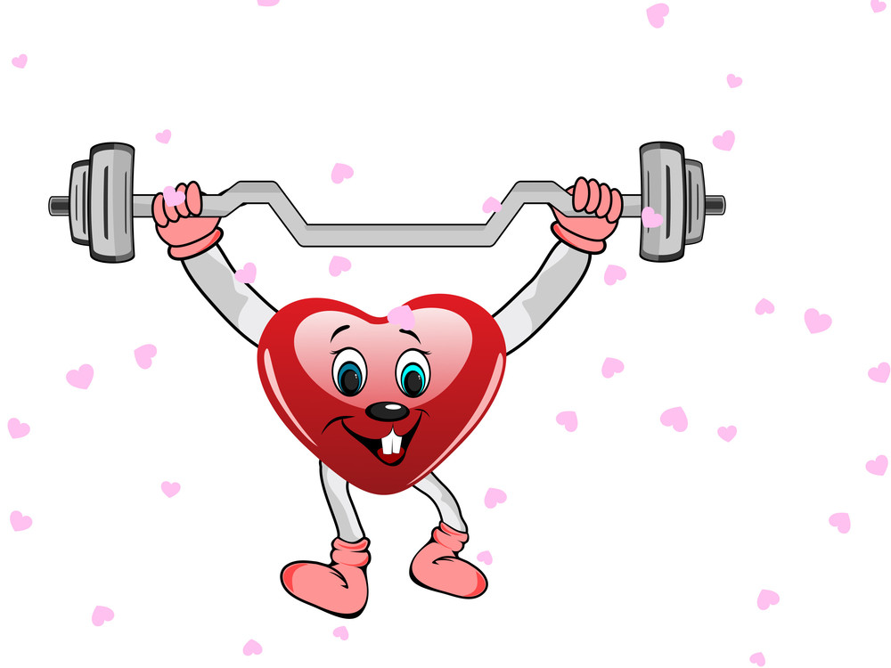 Heart In The Form Of Funny Character With The Dumbbells On White Background.