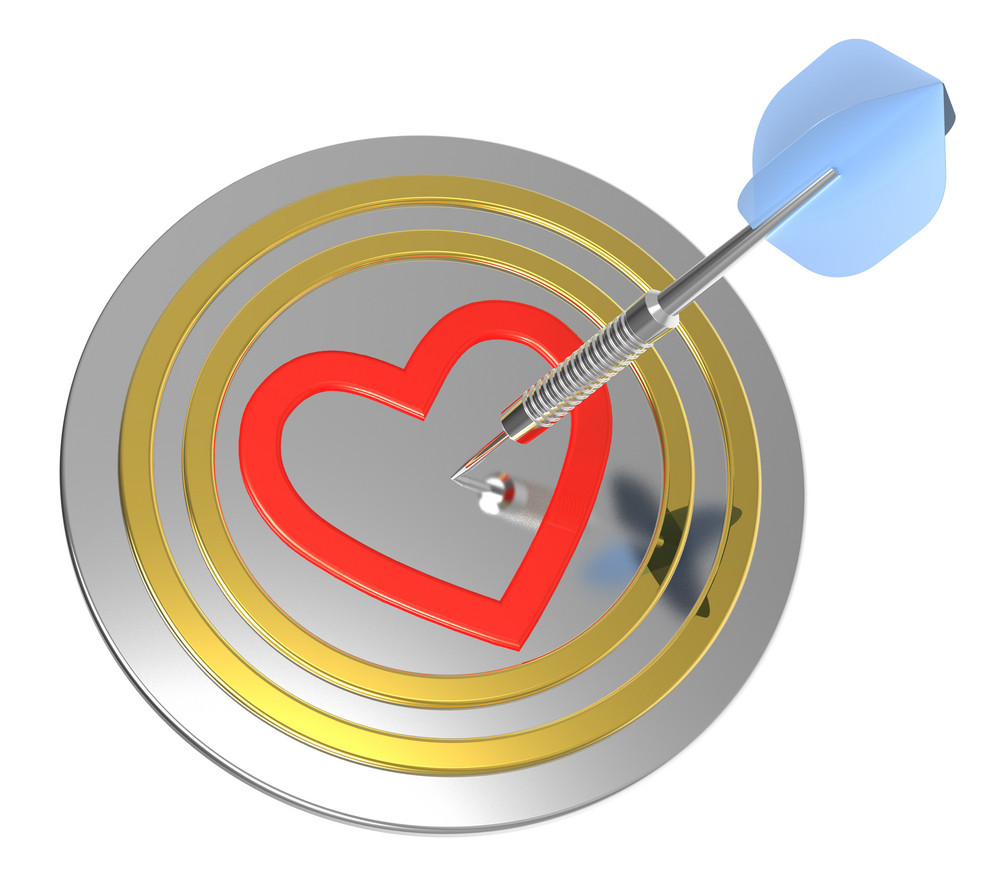 Heart On Dart Board With Dart.