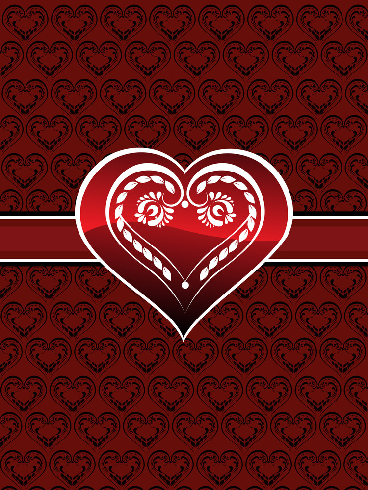 Heart Pattern Background With Decorated Heart