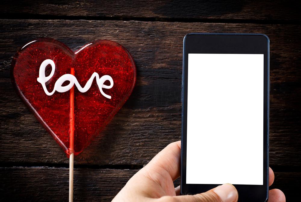 Heart Shape Lollipop And Phone Template