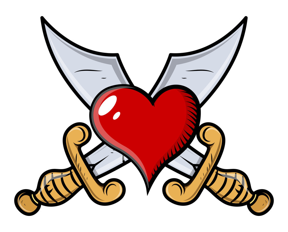 Heart With Crossed Swords - Vector Cartoon Illustration