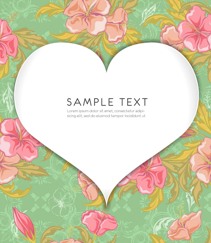 Heart With Floral Background Vector Illustration