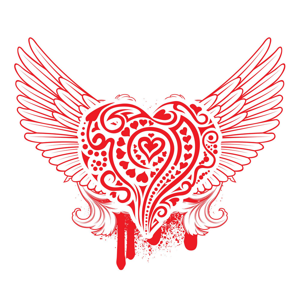 Heart With Grunge And Wings