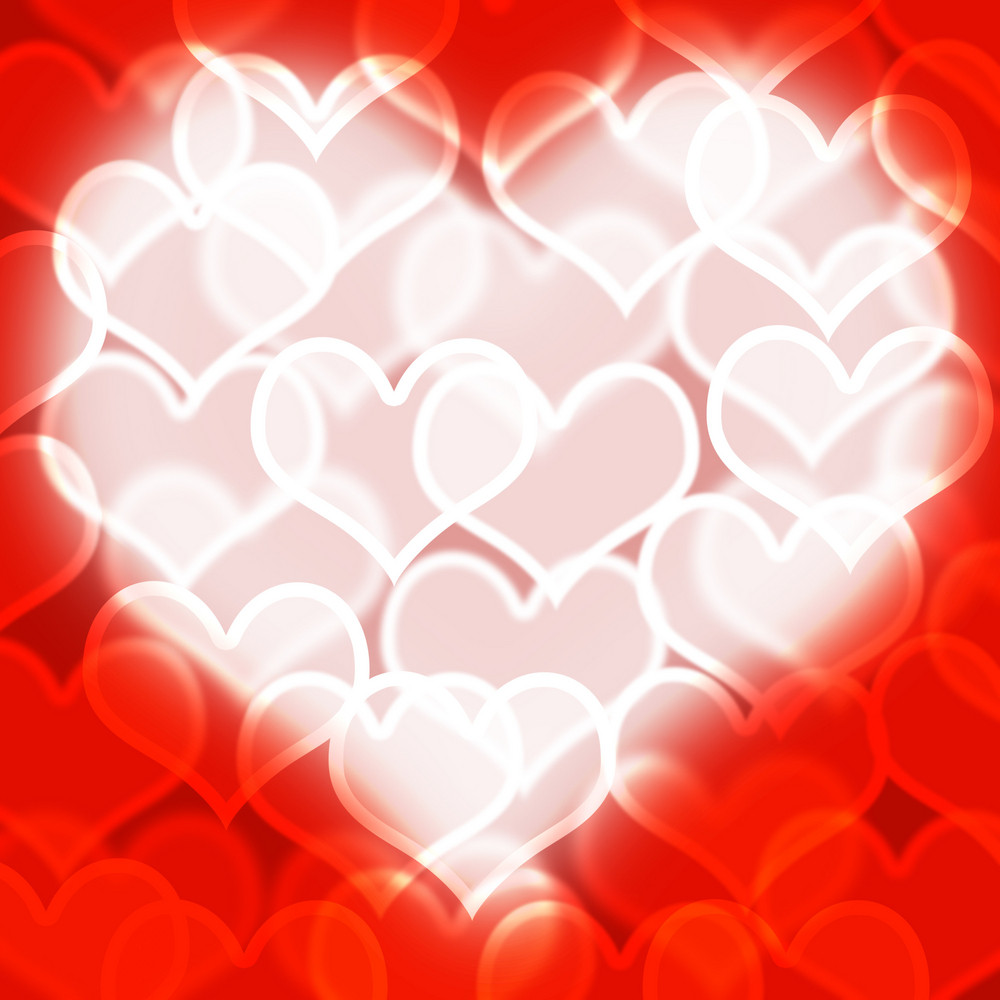 Heart With Red Bokeh Background Showing Love Romance And Valentines