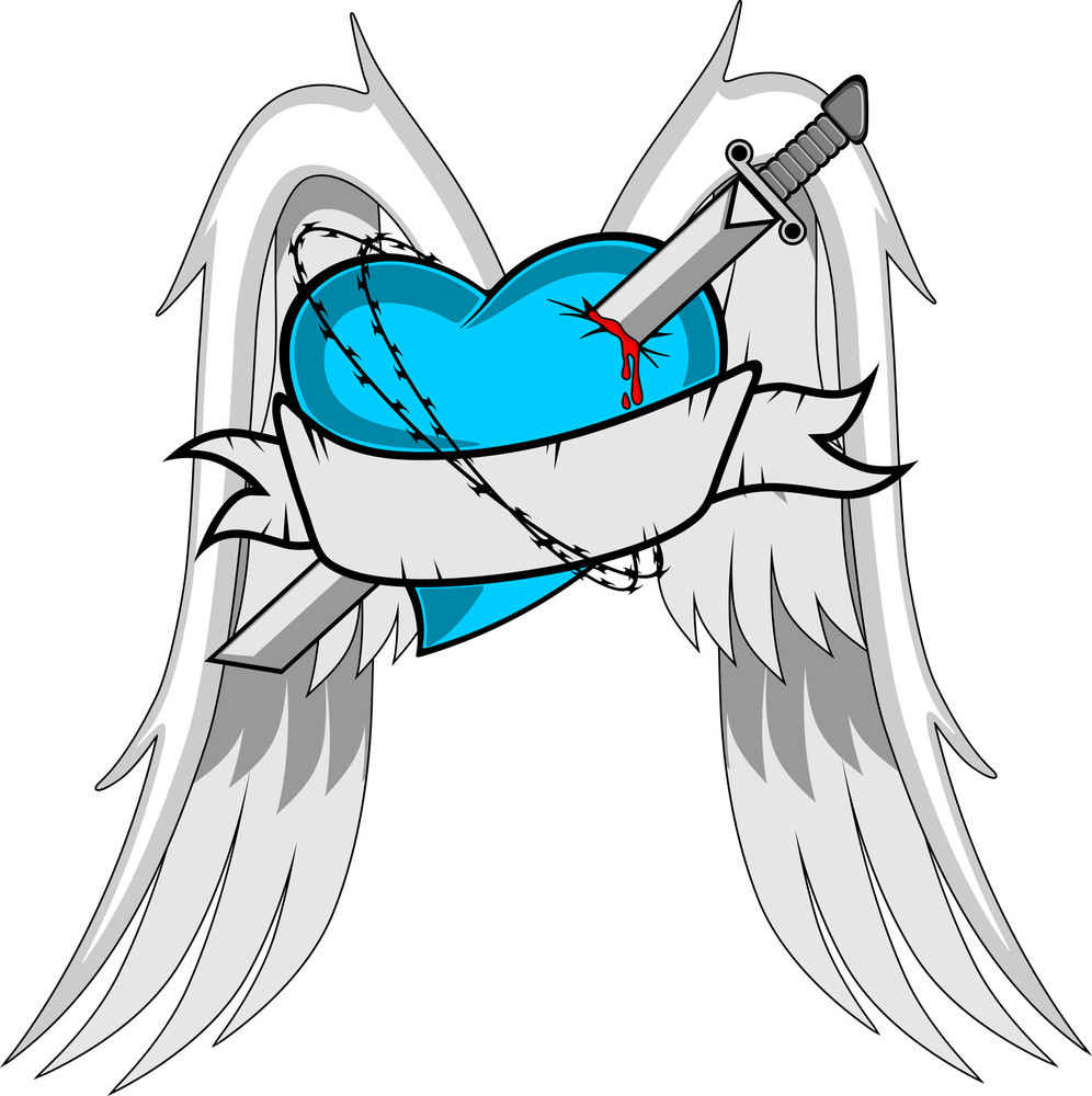 Heart With Wings Sword And Ribbon Royalty Free Stock Image