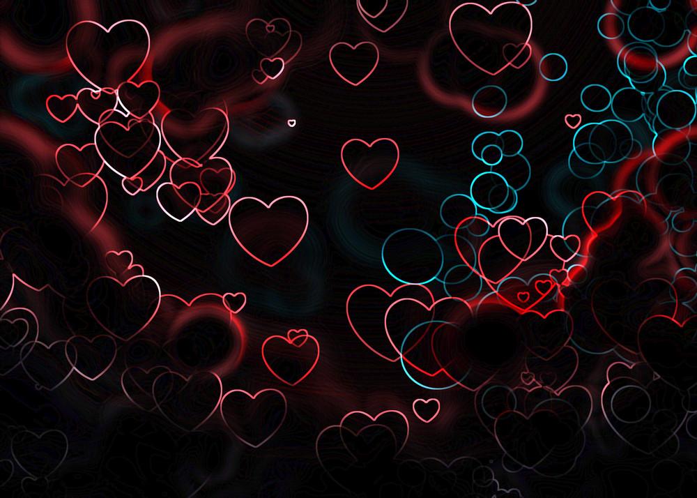 Hearts Glowing In Dark Background