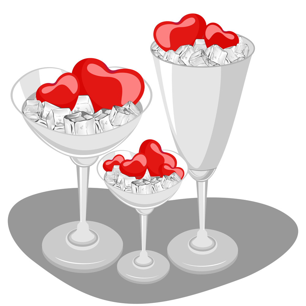 Hearts In A Wine Glass With Ice Cube. Vector Illustration.