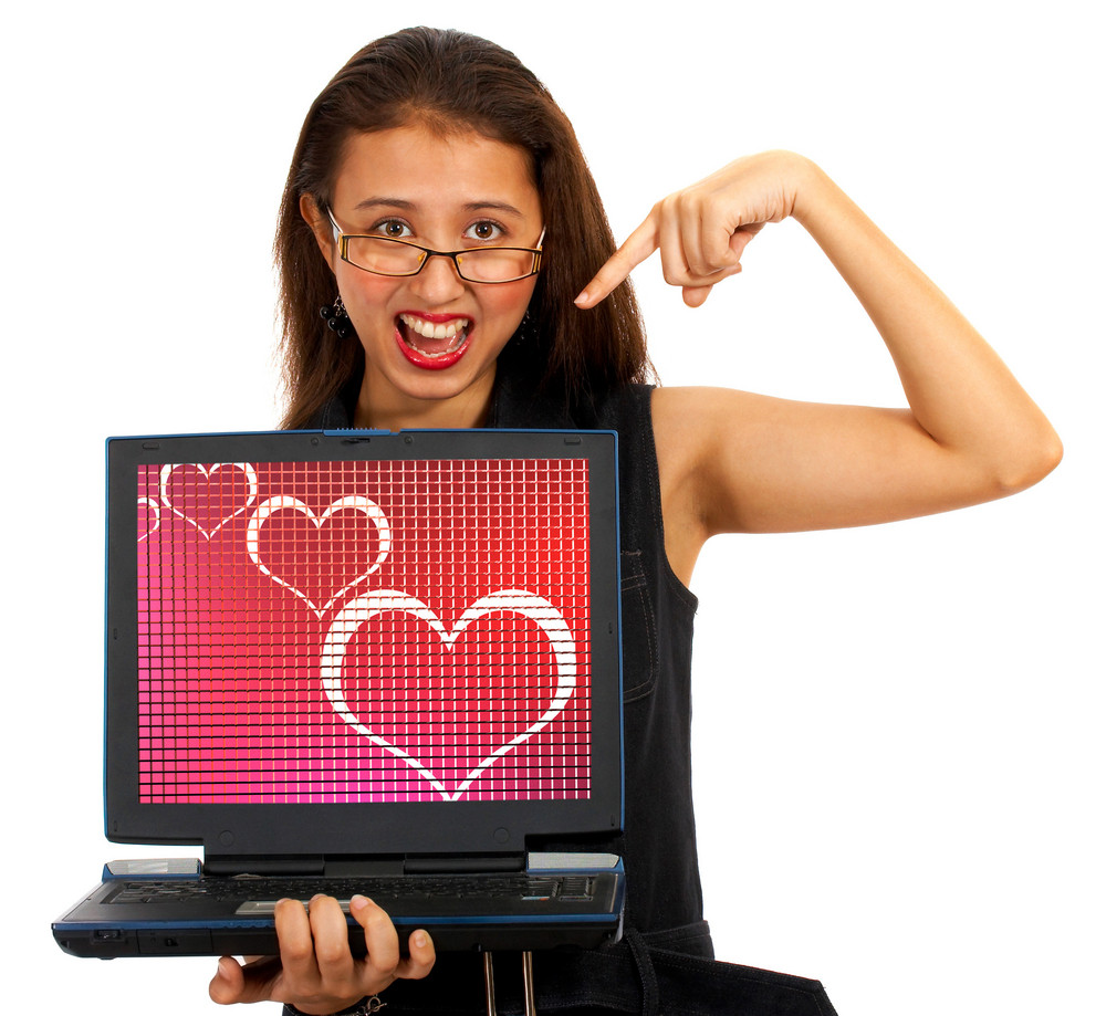 Hearts On Computer Screen Showing Online Dating