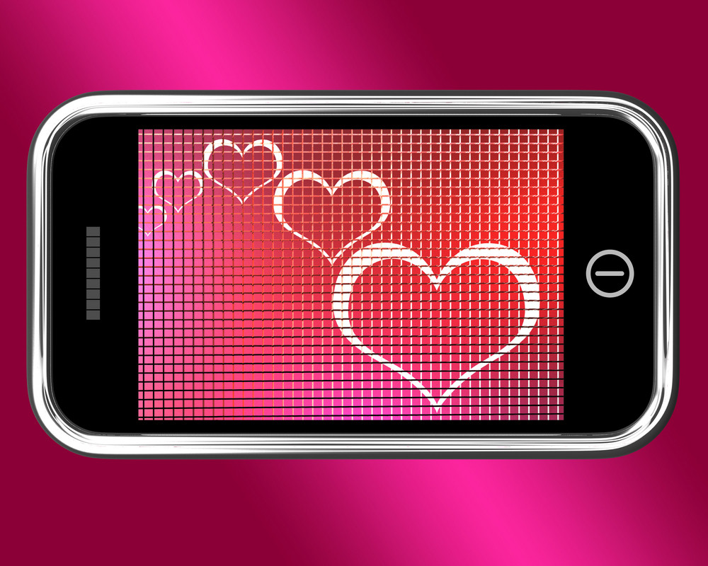 Hearts On Mobile Phone Shows Love And Online Dating