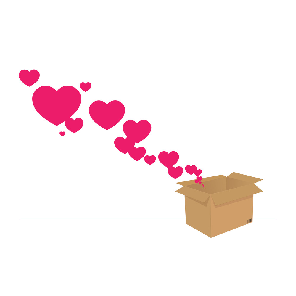 Hearts Taking Off From A Box. Abstract Vector Illustration.