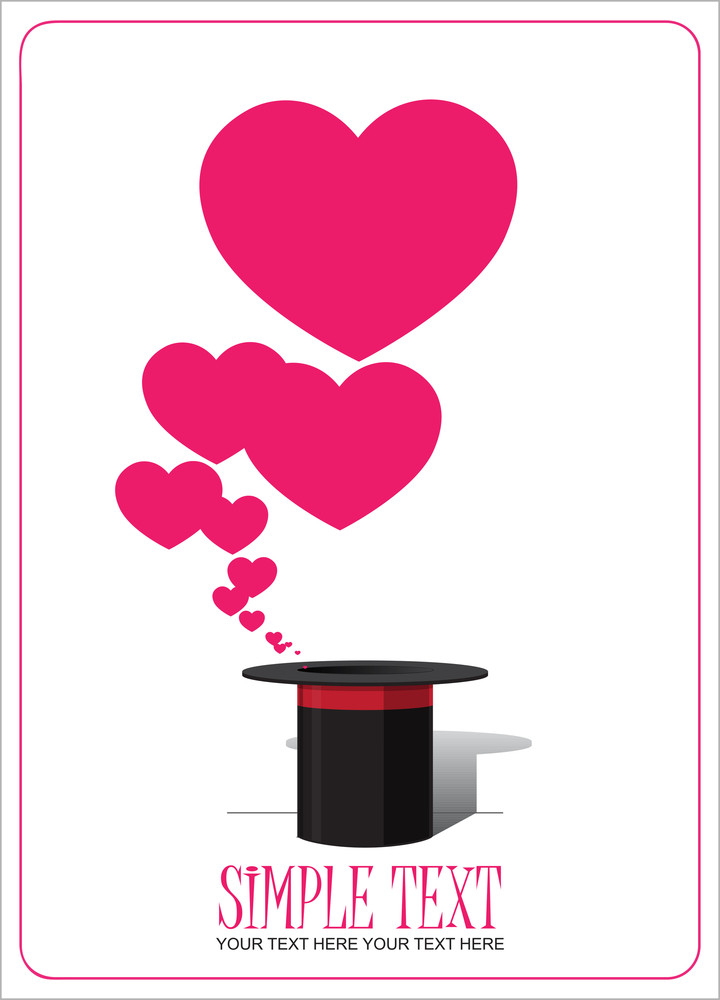 Hearts Taking Off From Magic Hat. Vector Illustration.