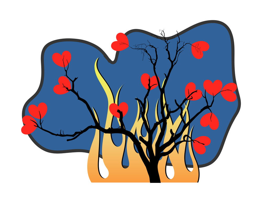 Hearts Tree Fire Background