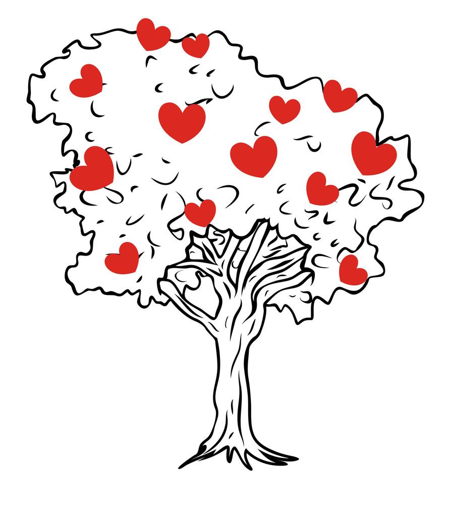 Hearts Tree Vector