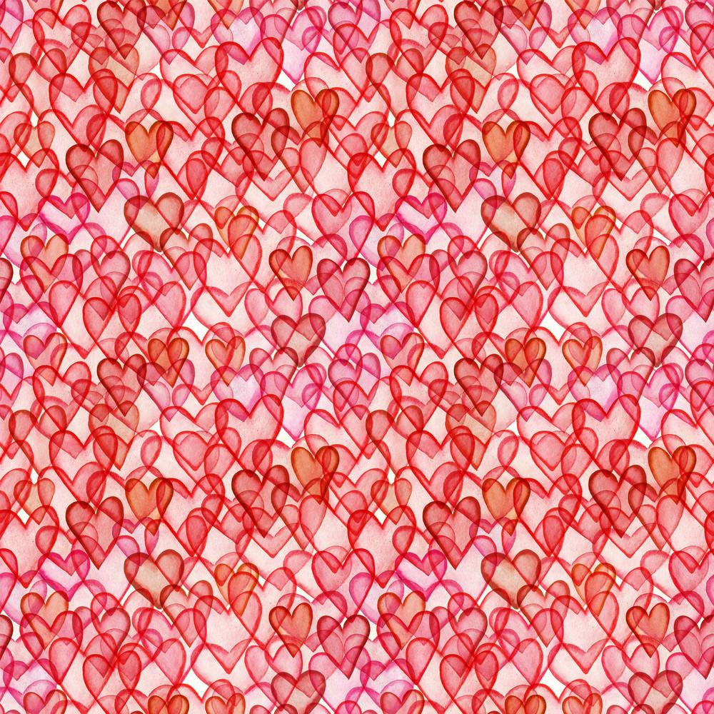 Hearts Watercolor Seamless Pattern