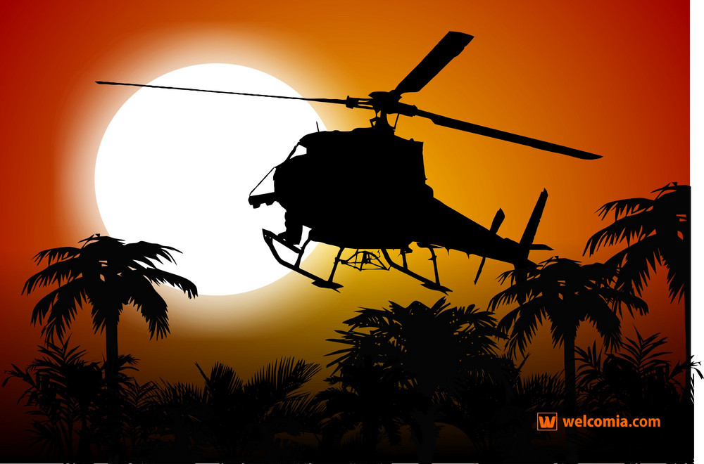 Helicopter And Sunset