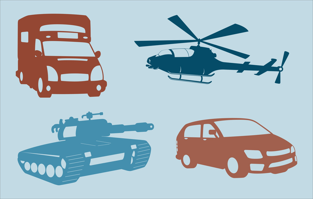 Helicopter, Tank, And Cars Shapes