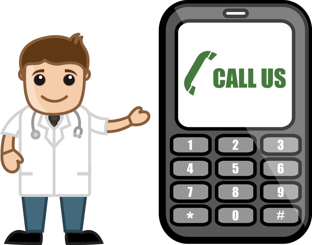 Helpline - Doctor & Medical Character Concept