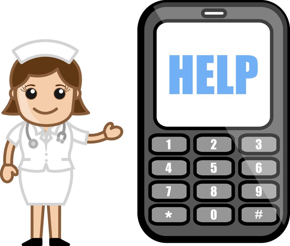 Helpline Phone Number - Medical Cartoon Vector Character