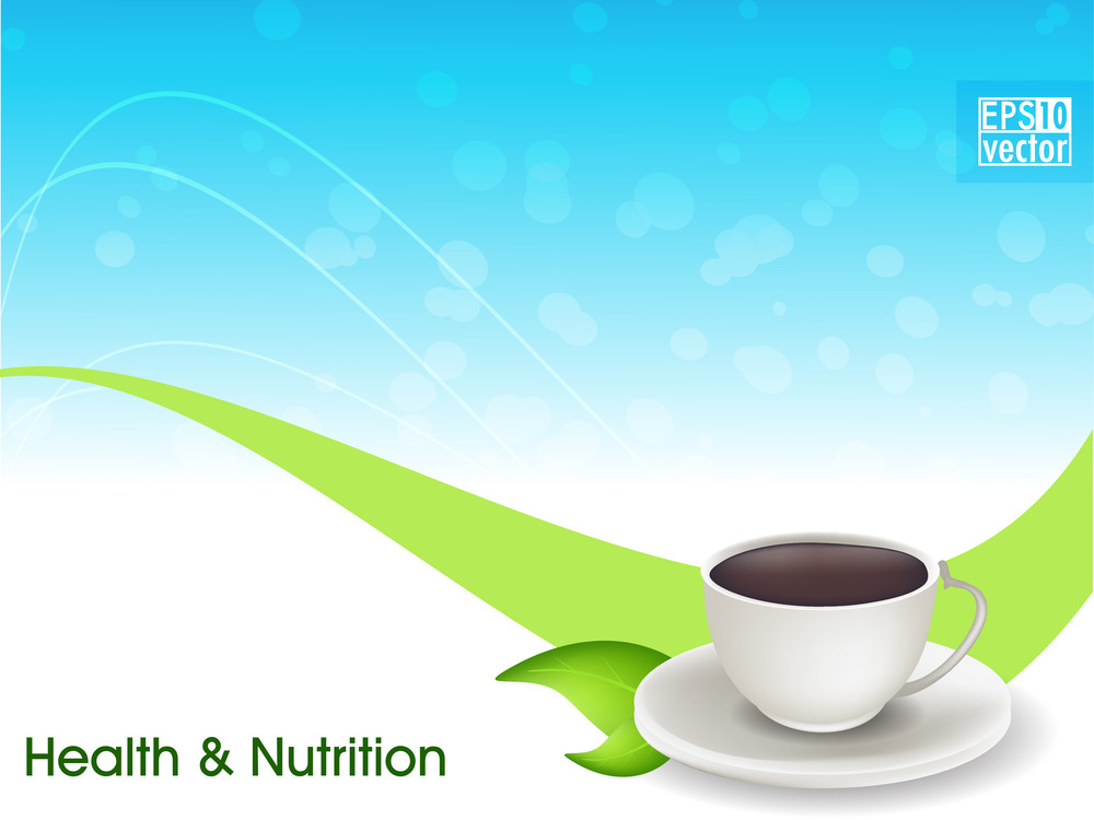 Herbal Tea Or Coffee With Green Leaf On Wave Background.