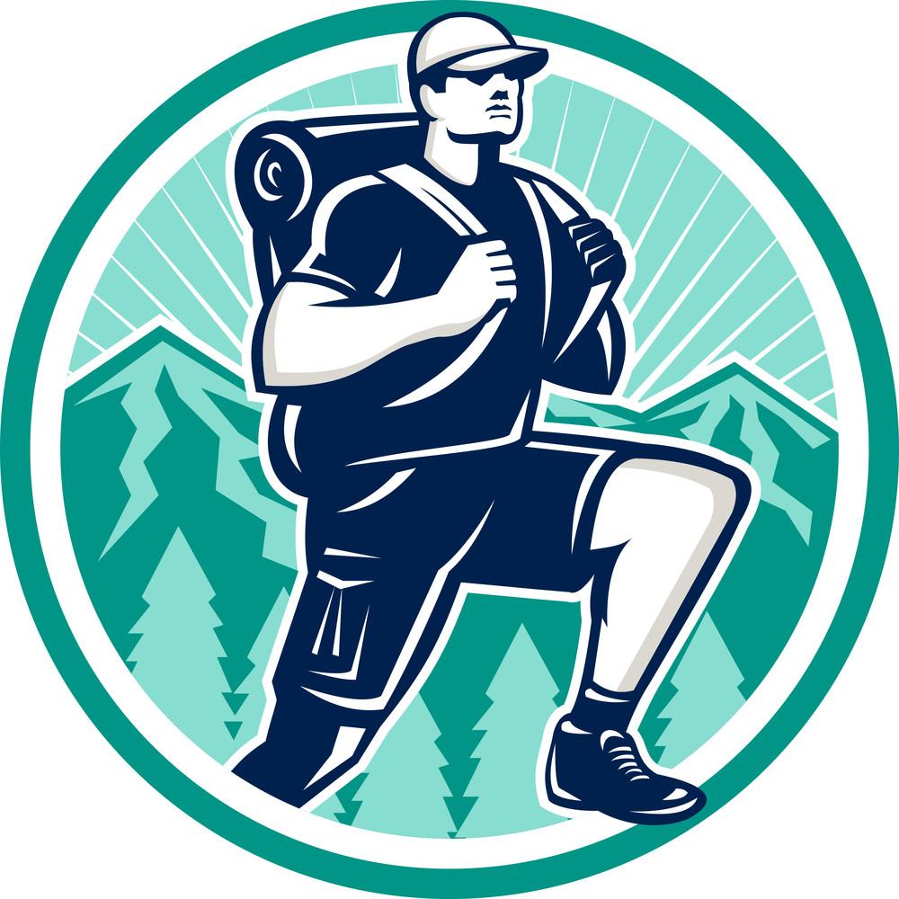 Hiker Hiking Mountain Retro