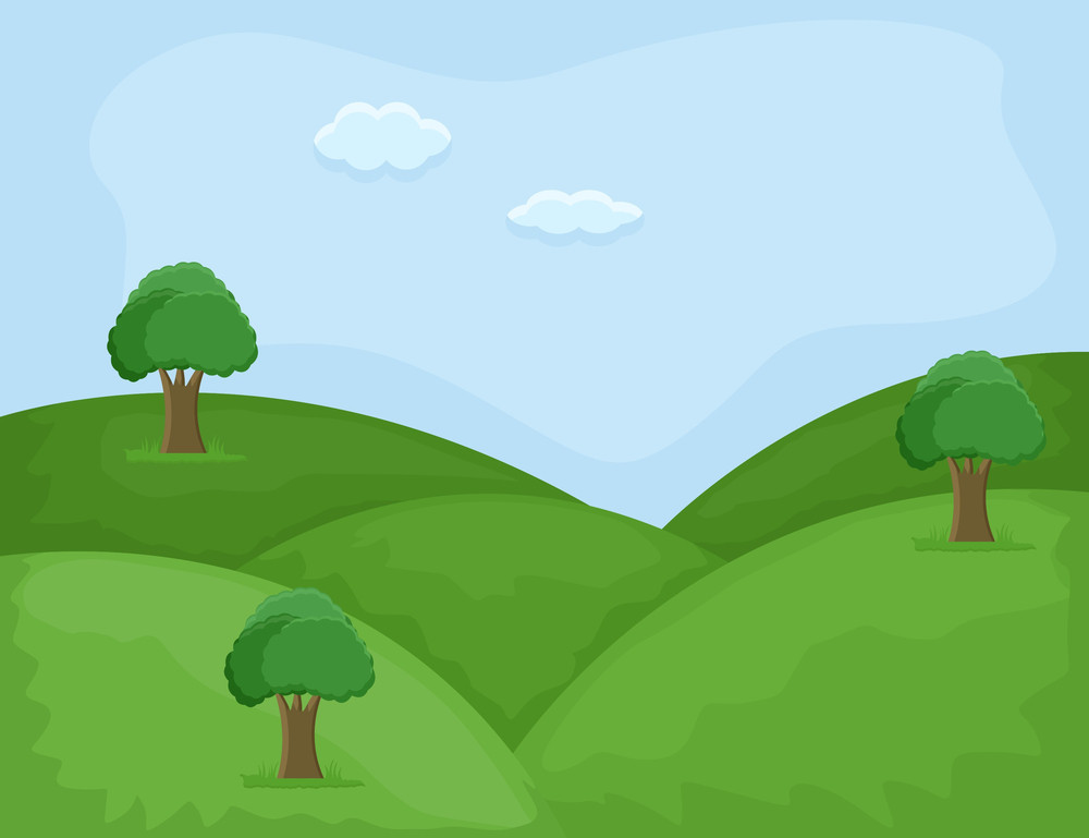 Hill Area - Cartoon Background Vector