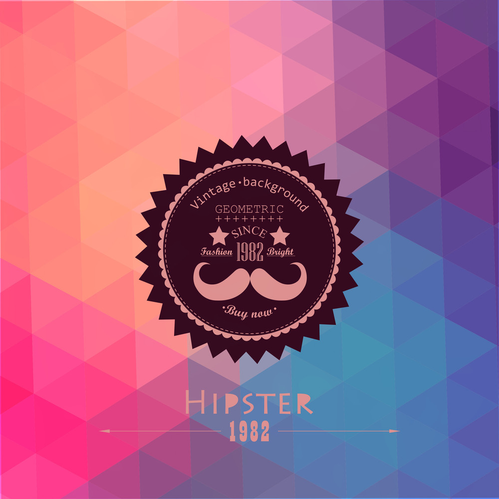 Hipster Background Made Of Triangles. Retro Label Design. Square Composition With Geometric Shapes