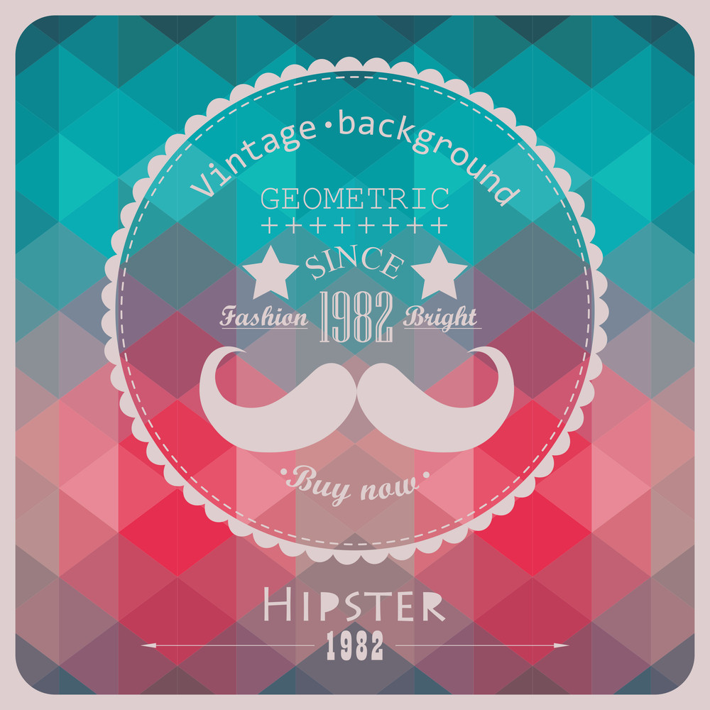 Hipster Background Made Of Triangles. Retro Label Design. Square Composition With Geometric Color Flow Effect. Color Wheel With Hipster Theme Label. Mustache