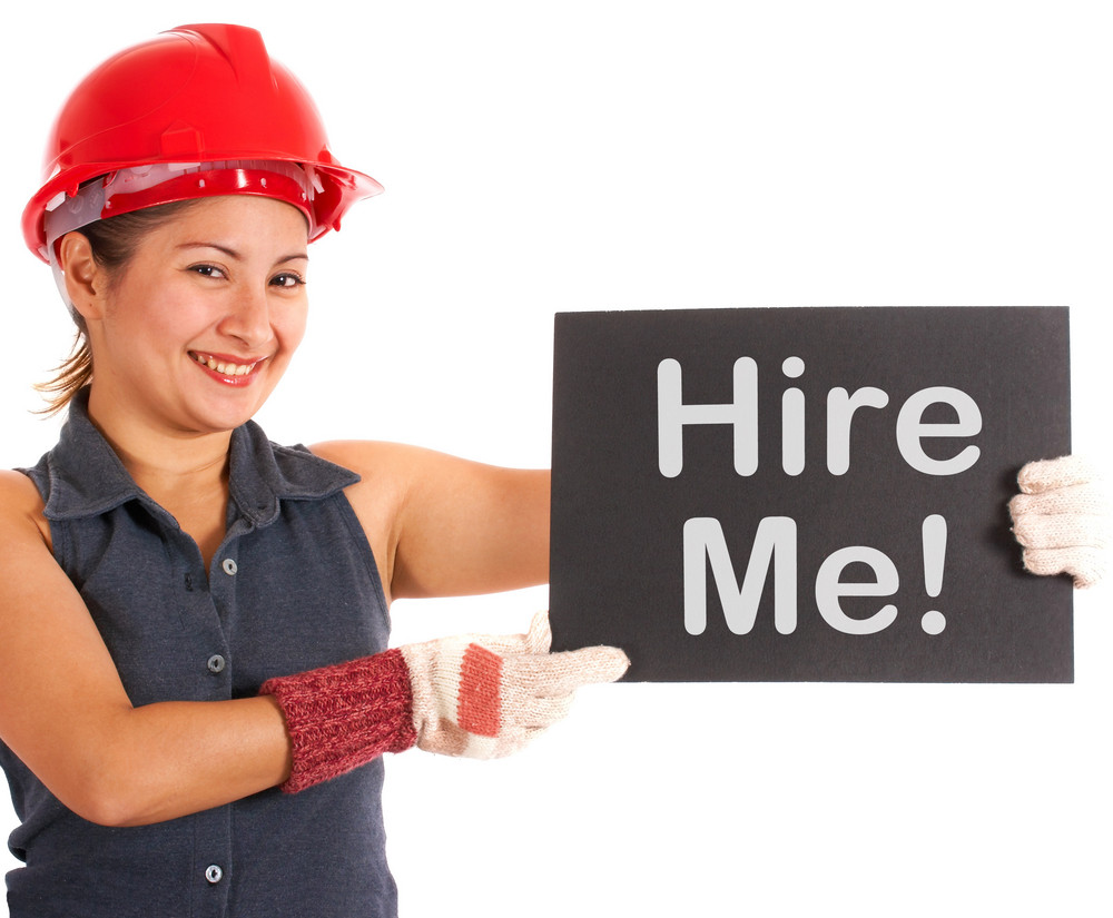 Hire Me Sign With Construction Worker Showing Careers
