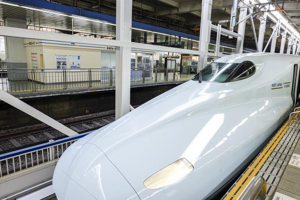 HIROSHIMA, JAPAN - NOVEMBER 13: Shinkansen in hiroshima, Japan on November 13, 2014.