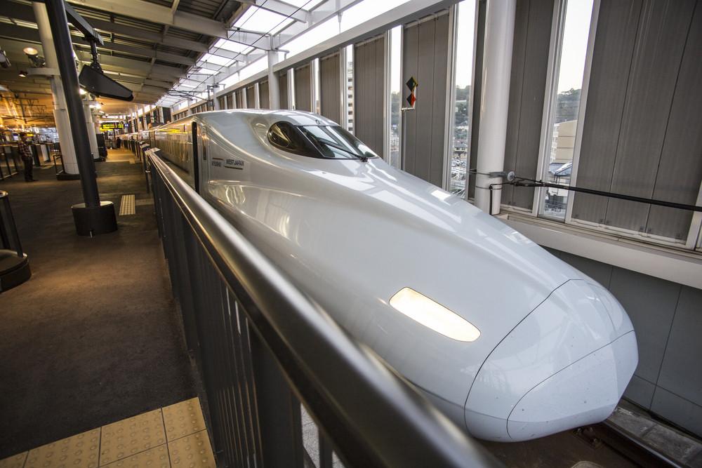 HIROSHIMA, JAPAN - OCTOBER 26: Shinkansen in hiroshima, Japan on October 26, 2013.