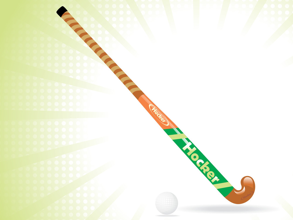 Hockey Stick And Ball With White Rays Background