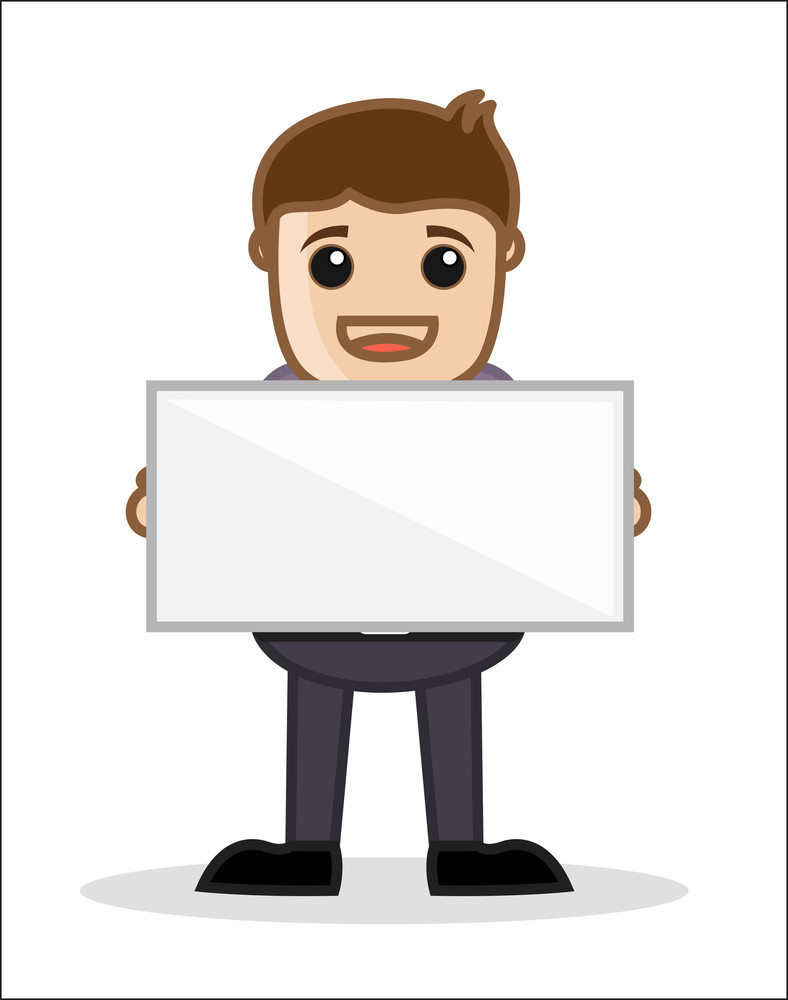Holding A Banner - Office And Business People Cartoon Character Vector Illustration Concept