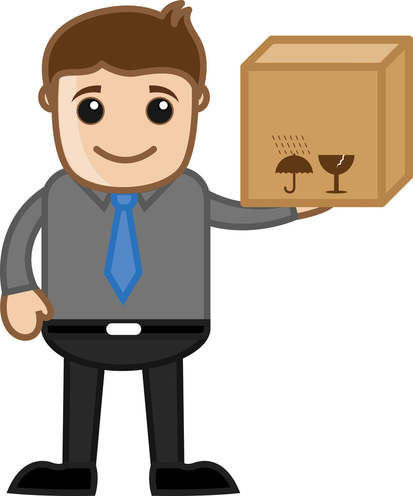 Holding A Delivery Box - Business Cartoon