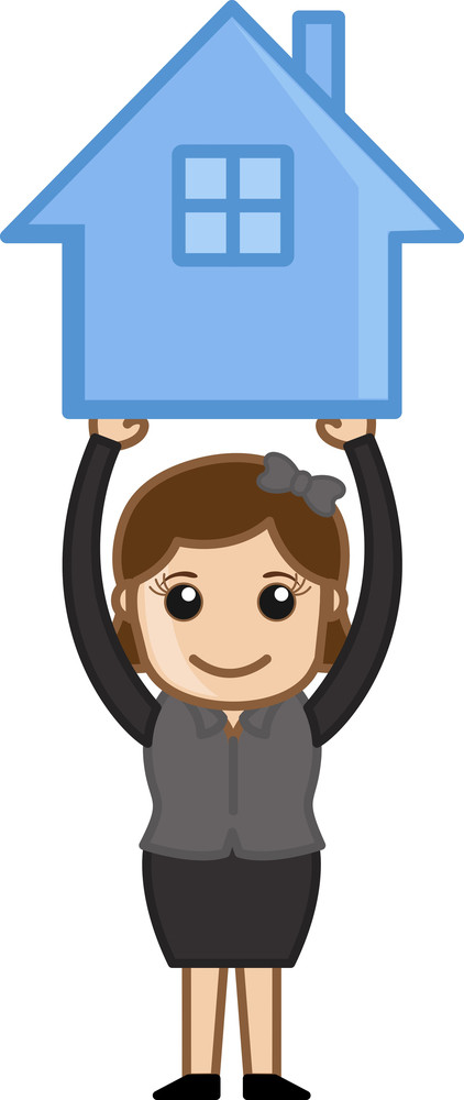 Holding A House Icon - Real Estate Concept - Vector Character Cartoon Illustration
