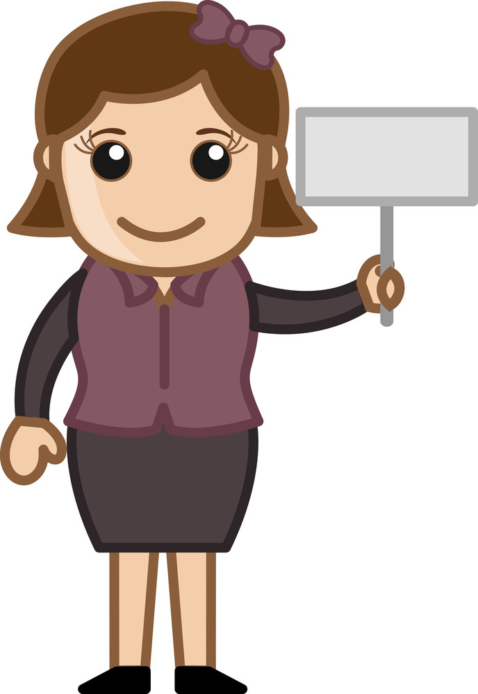 Holding A Small Banner - Cartoon Bussiness Vector Illustrations