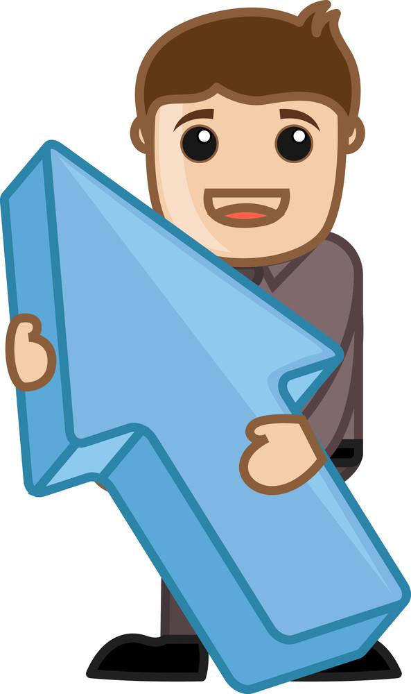 Holding An Arrow - Vector Character Cartoon Illustration