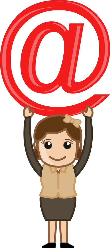Holding An At Sign - E-mail Cartoon Concept