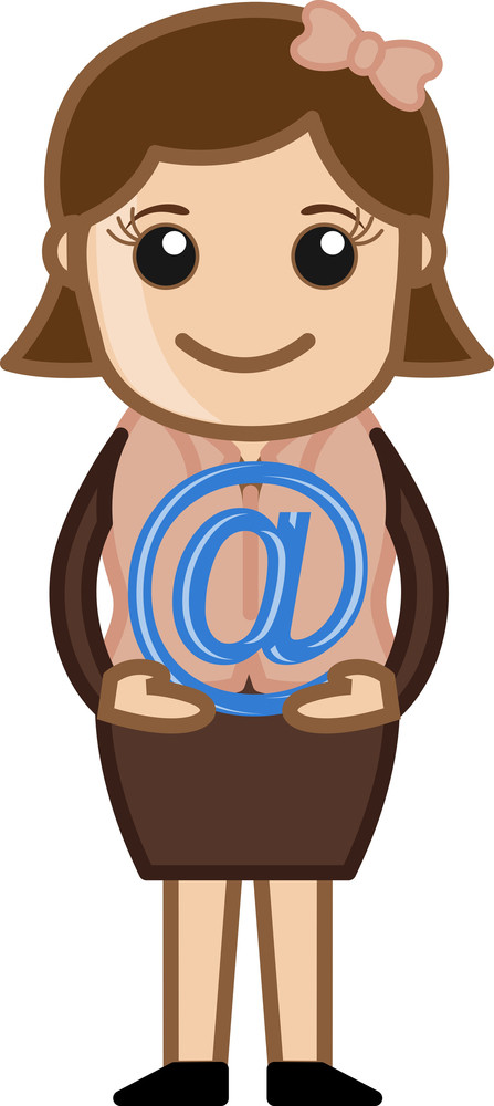 Holding An At Sign - E-mail Concept - Vector Illustration