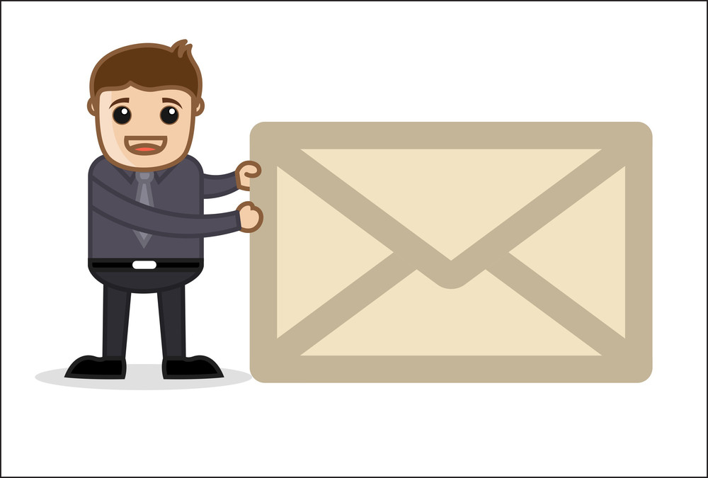 Holding An Envelope - Office And Business People Cartoon Character Vector Illustration Concept