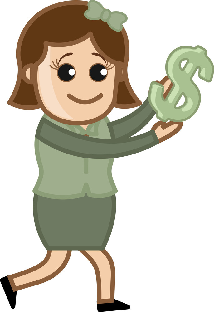 Holding Dollar Sign - Vector Illustration