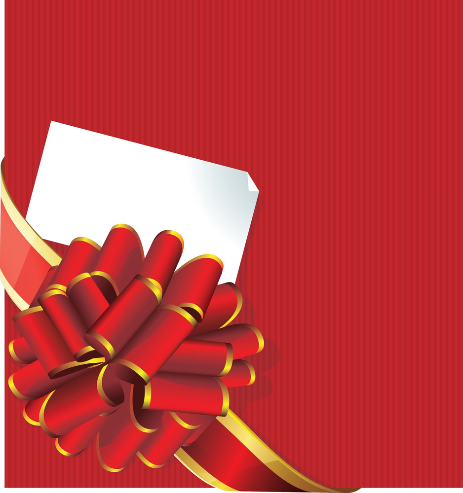 Holiday Red And Golden Bow And Gift Card. Vector.