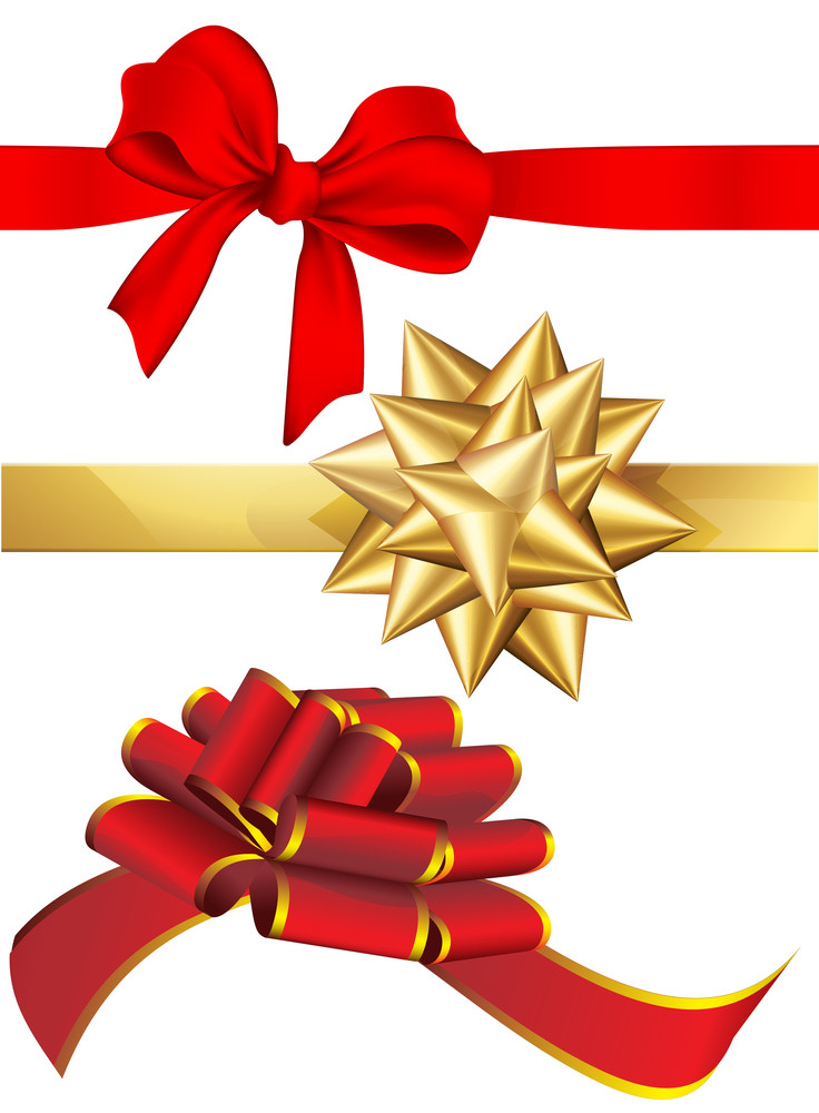 Holiday Red And Golden Bows Set. Vector.