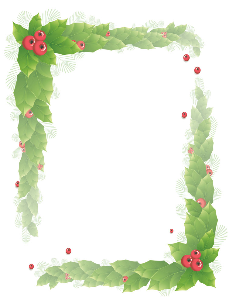 Holly Frame. Vector.