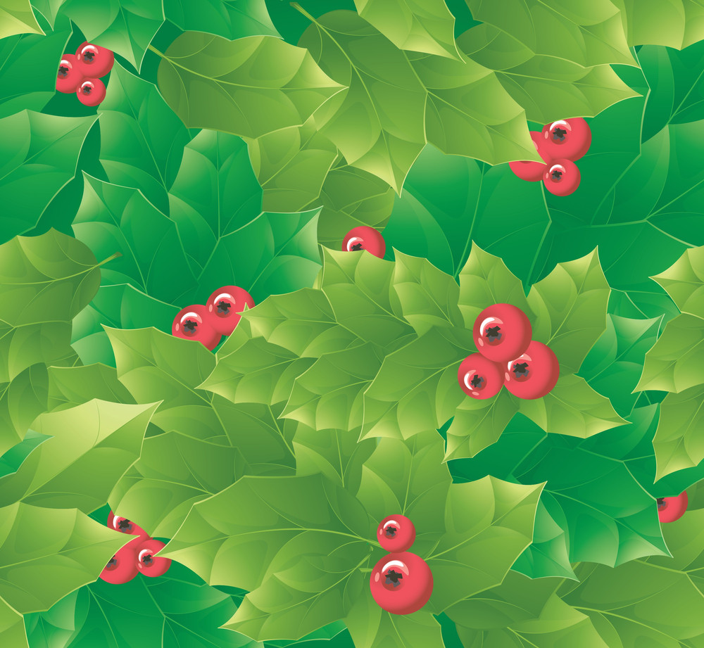 Holly Seamless Pattern. Vector.