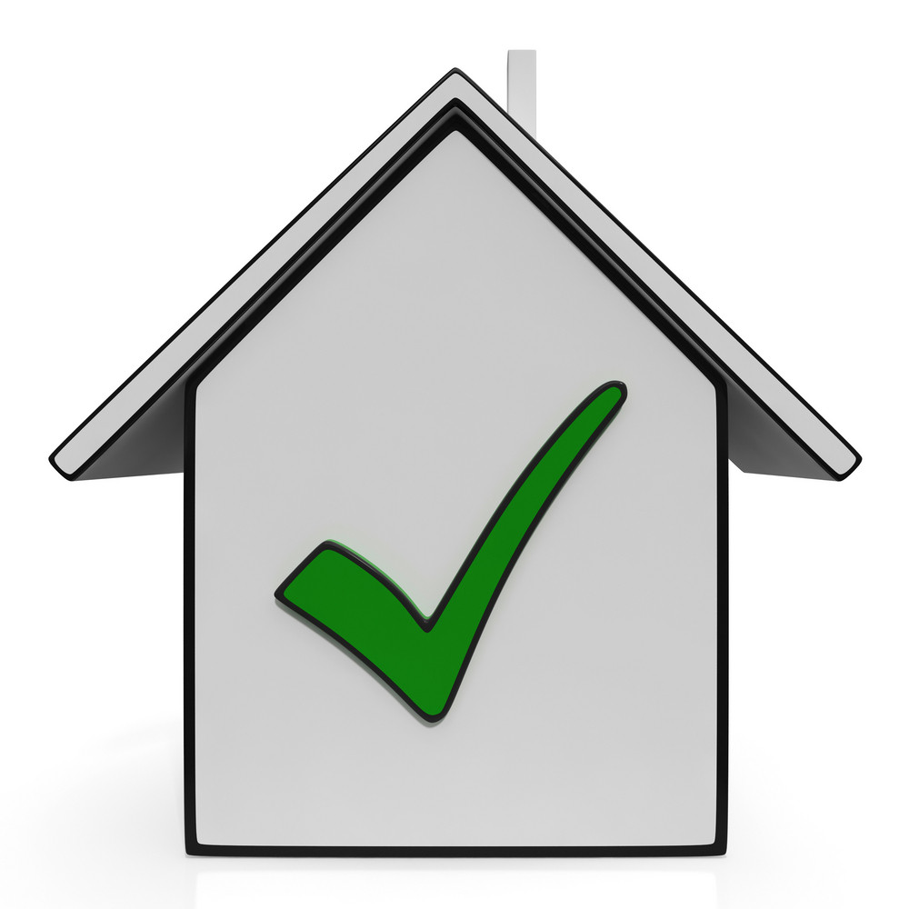 Home Icons With Check Showing House For Sale