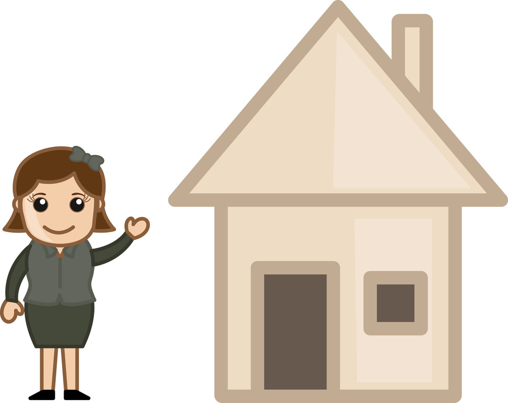 Home - Real Estate Concept - Vector Character Cartoon Illustration