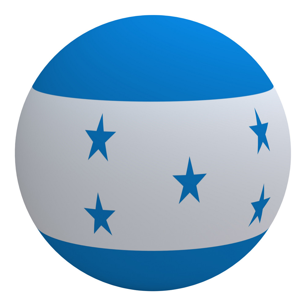 Honduras Flag On The Ball Isolated On White.