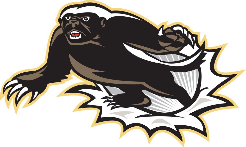 Honey Badger Mascot Jumping