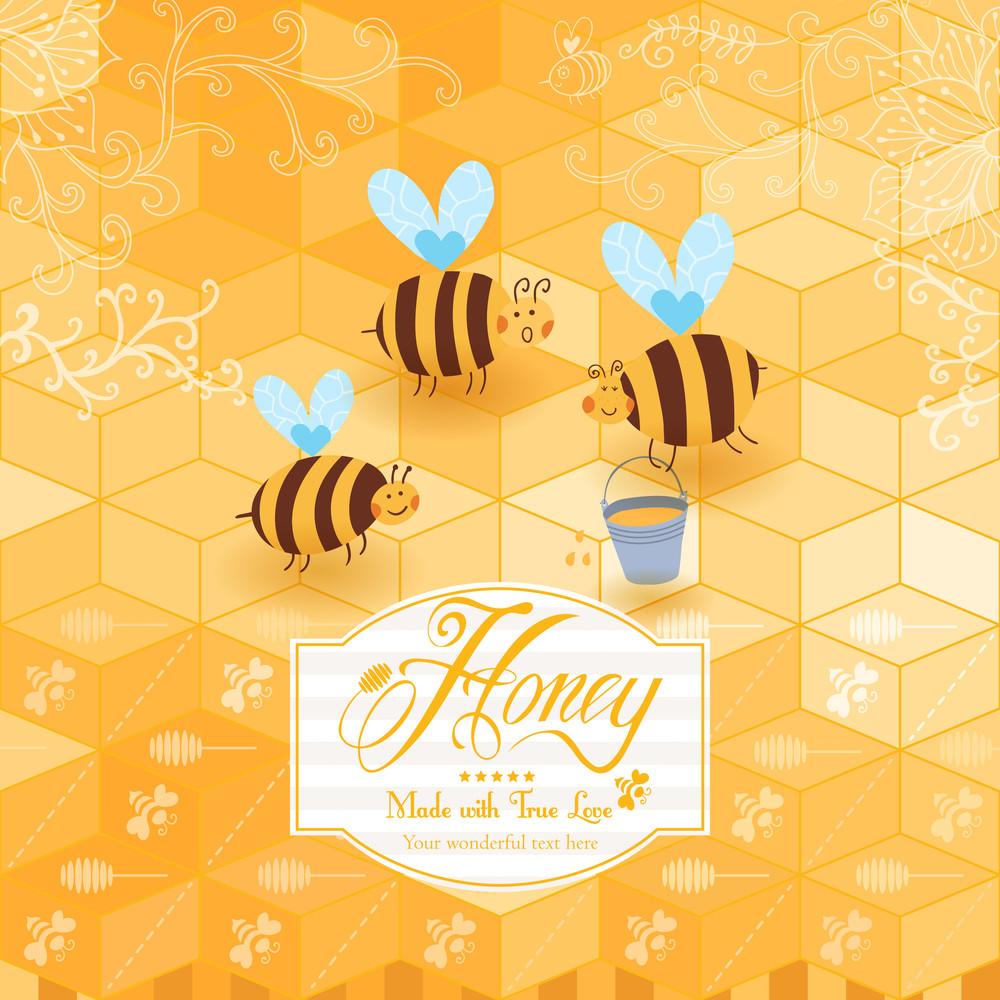 Honey Template Background. Vintage Frame With Honey